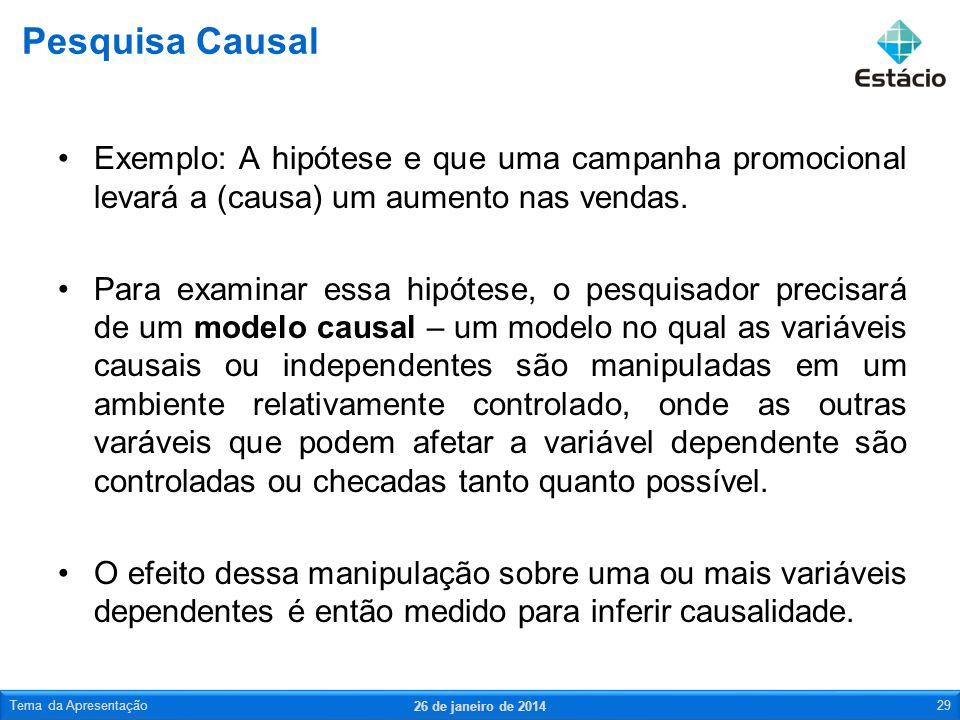 Pesquisa CausalExemplo: A hipótese e que uma campanha promocional levará a (causa) um aumento nas vendas.