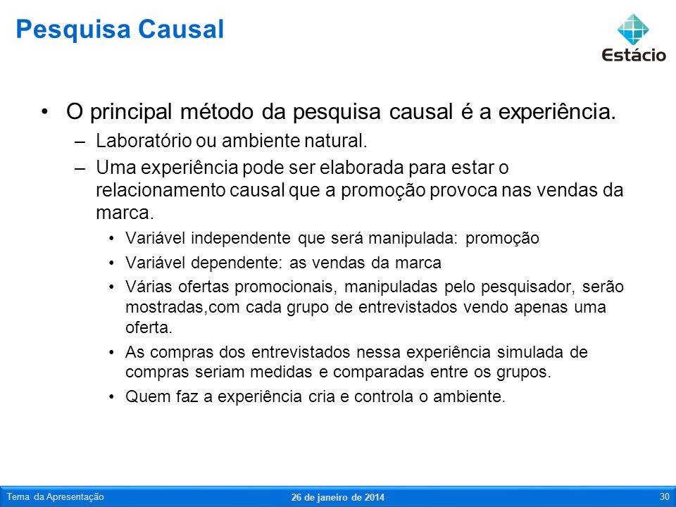 Pesquisa Causal O principal método da pesquisa causal é a experiência.