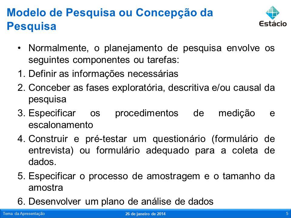 Modelo de Pesquisa ou Concepção da Pesquisa