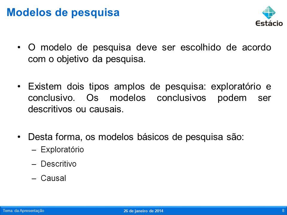Modelos de pesquisaO modelo de pesquisa deve ser escolhido de acordo com o objetivo da pesquisa.