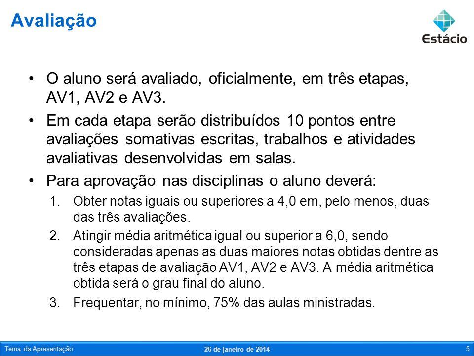 Avaliação O aluno será avaliado, oficialmente, em três etapas, AV1, AV2 e AV3.