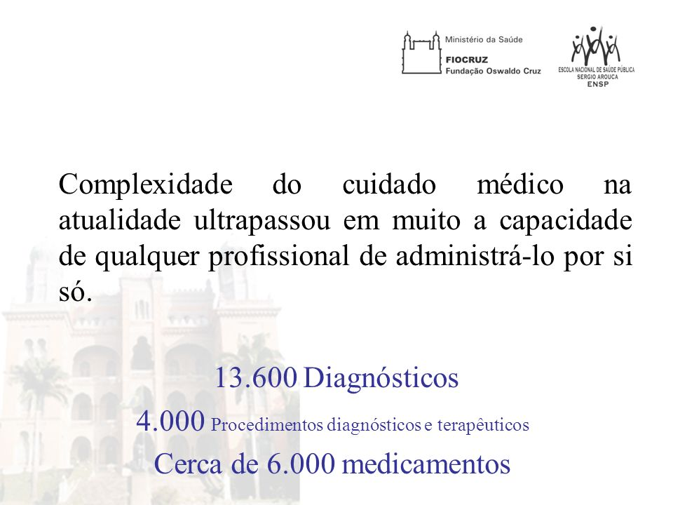 Complexidade do cuidado médico na atualidade ultrapassou em muito a capacidade de qualquer profissional de administrá-lo por si só.