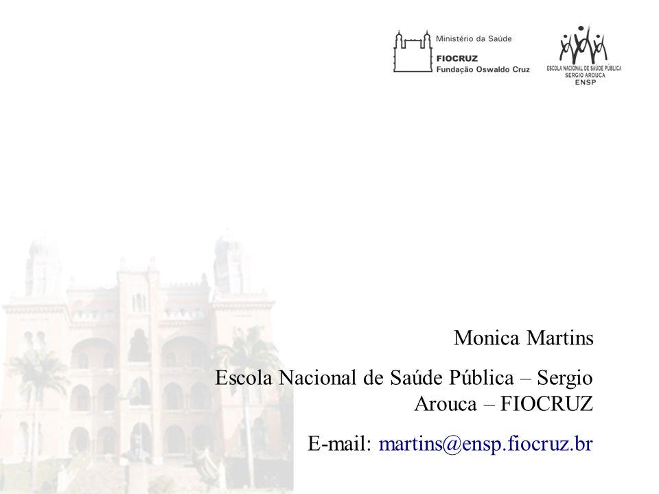Monica Martins Escola Nacional de Saúde Pública – Sergio Arouca – FIOCRUZ.