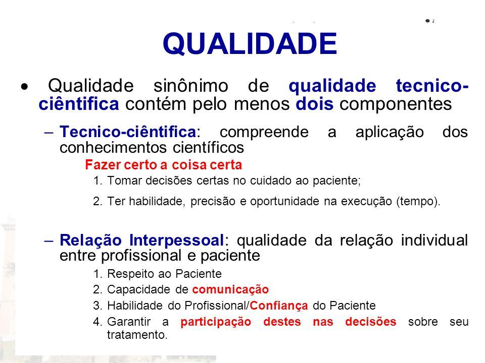 QUALIDADE · Qualidade sinônimo de qualidade tecnico-ciêntifica contém pelo menos dois componentes.