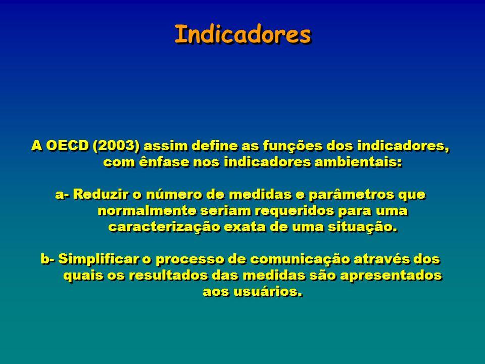 Indicadores A OECD (2003) assim define as funções dos indicadores, com ênfase nos indicadores ambientais: