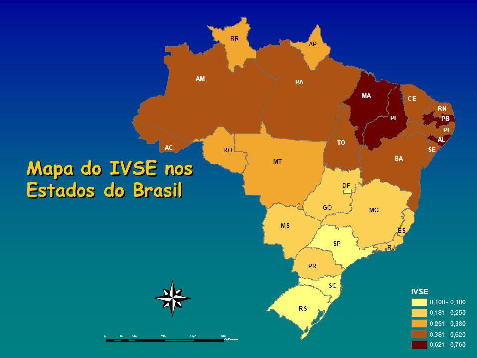 Mapa do IVSE nos Estados do Brasil