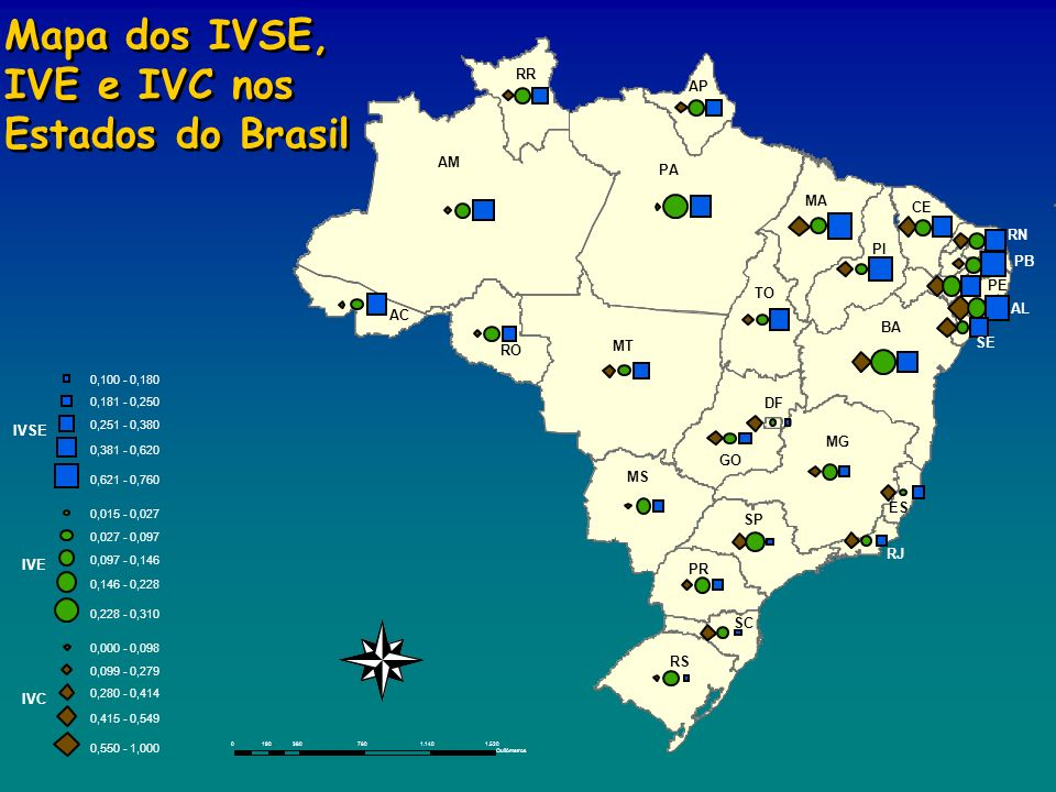 Mapa dos IVSE, IVE e IVC nos Estados do Brasil