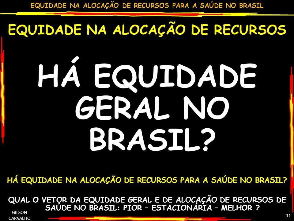 HÁ EQUIDADE GERAL NO BRASIL