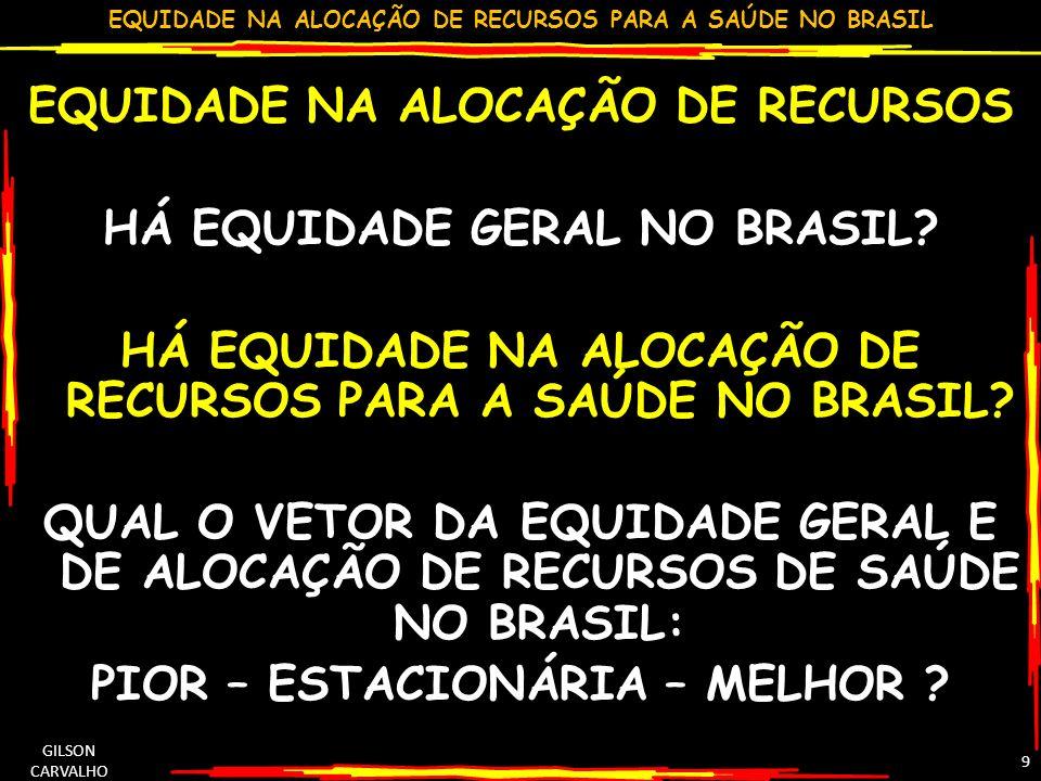 EQUIDADE NA ALOCAÇÃO DE RECURSOS HÁ EQUIDADE GERAL NO BRASIL