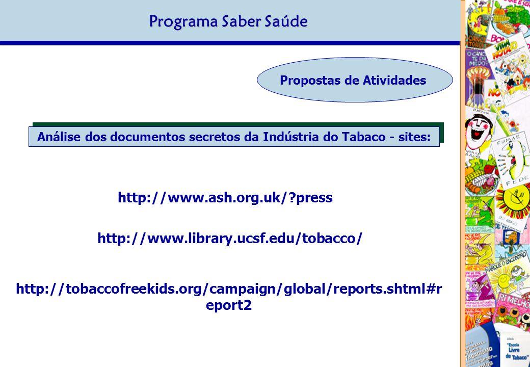 Análise dos documentos secretos da Indústria do Tabaco - sites: