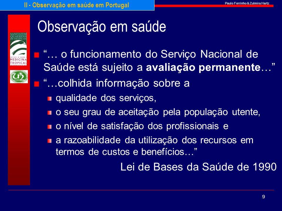 II - Observação em saúde em Portugal