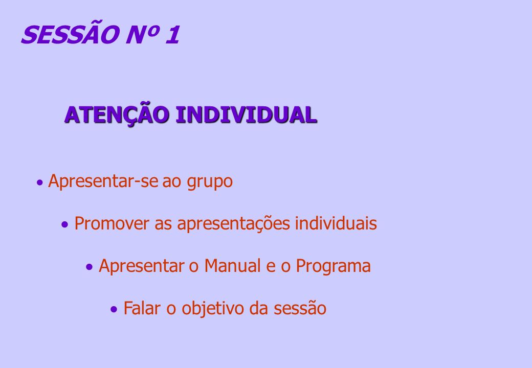 SESSÃO Nº 1 ATENÇÃO INDIVIDUAL Promover as apresentações individuais