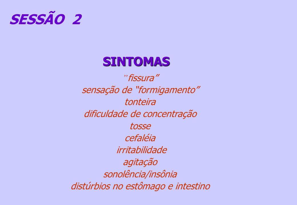 SESSÃO 2 SINTOMAS fissura sensação de formigamento tonteira