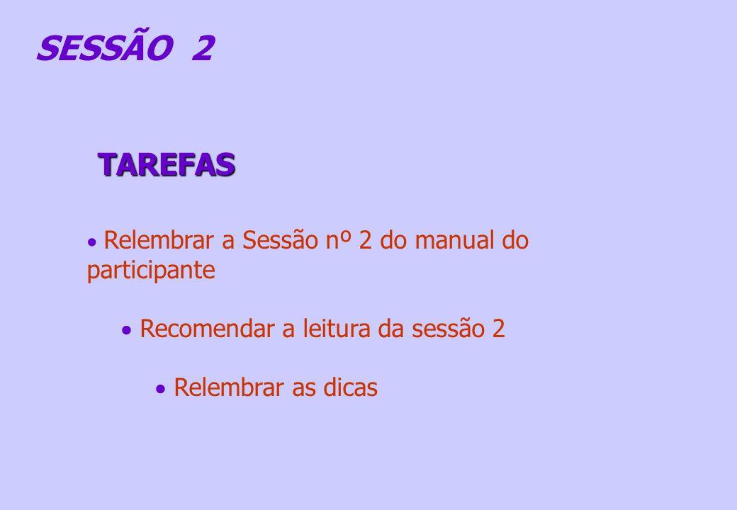 SESSÃO 2 TAREFAS Recomendar a leitura da sessão 2 Relembrar as dicas