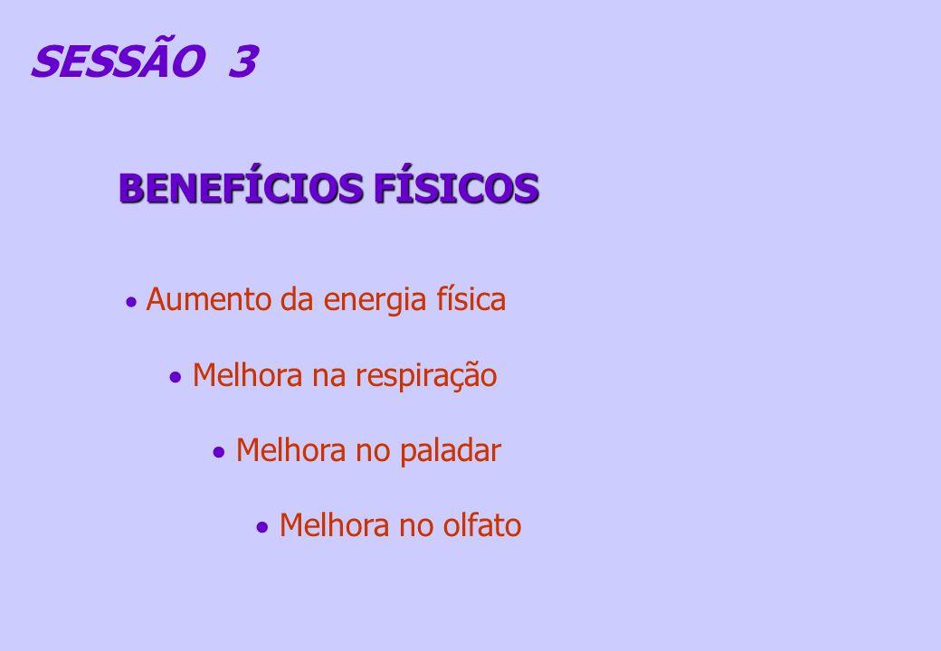 SESSÃO 3 BENEFÍCIOS FÍSICOS Melhora na respiração Melhora no paladar