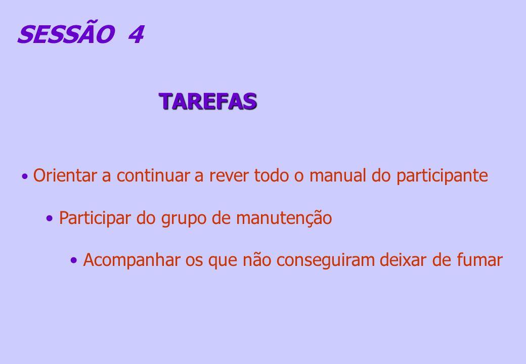 SESSÃO 4 TAREFAS Participar do grupo de manutenção