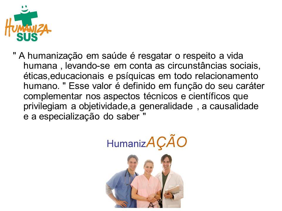 A humanização em saúde é resgatar o respeito a vida humana , levando-se em conta as circunstâncias sociais, éticas,educacionais e psíquicas em todo relacionamento humano.