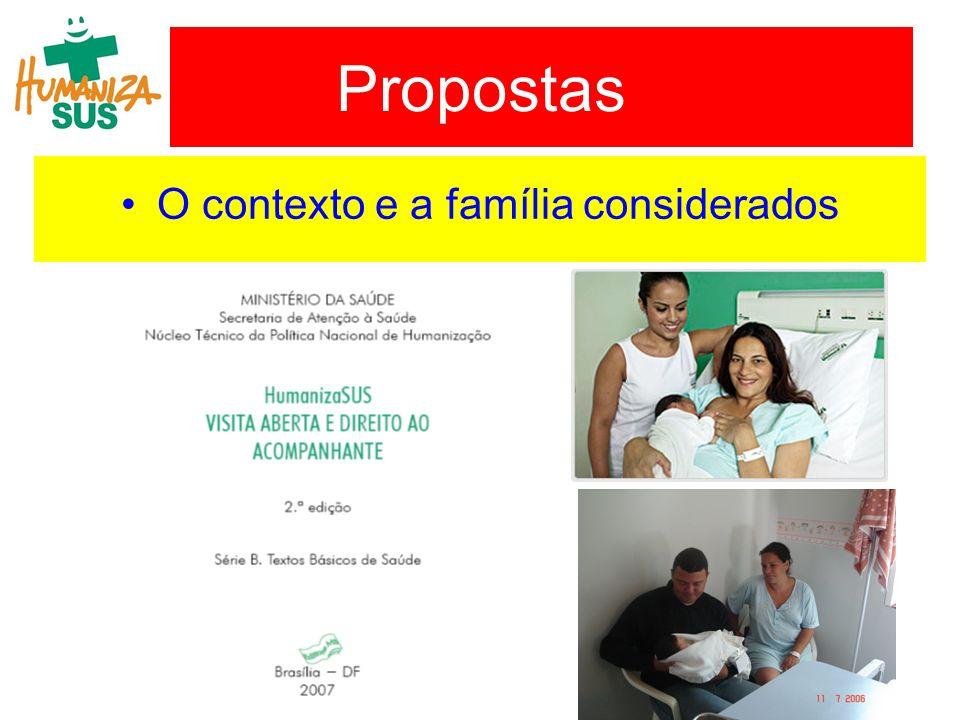 O contexto e a família considerados