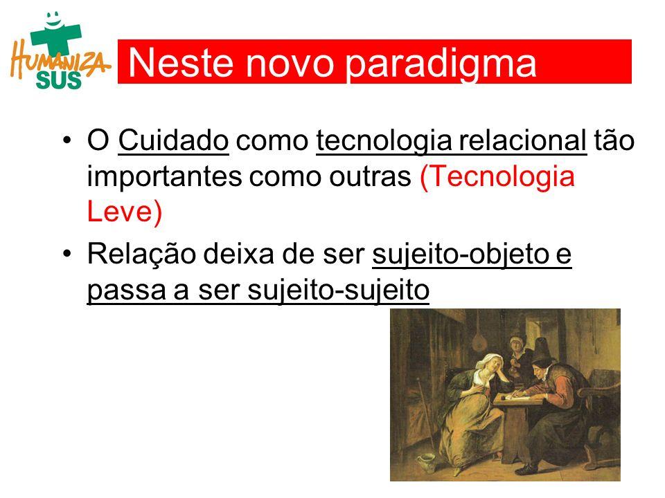 Neste novo paradigma O Cuidado como tecnologia relacional tão importantes como outras (Tecnologia Leve)