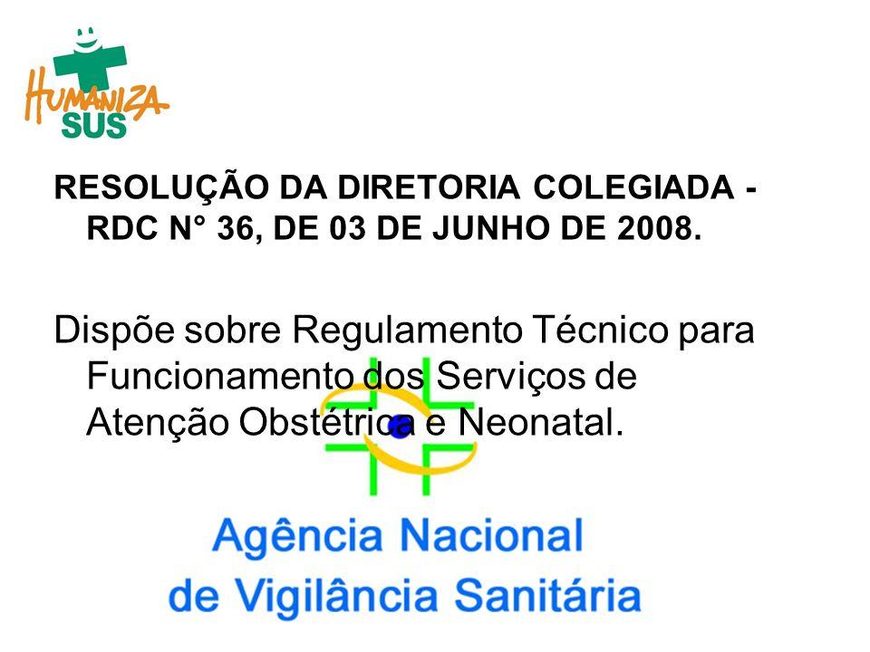 RESOLUÇÃO DA DIRETORIA COLEGIADA - RDC N° 36, DE 03 DE JUNHO DE 2008.