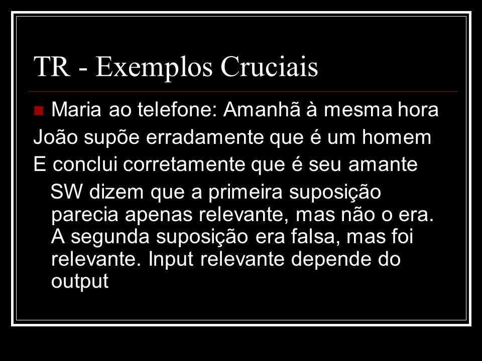 TR - Exemplos Cruciais Maria ao telefone: Amanhã à mesma hora