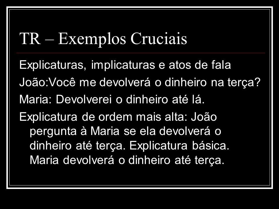 TR – Exemplos Cruciais Explicaturas, implicaturas e atos de fala