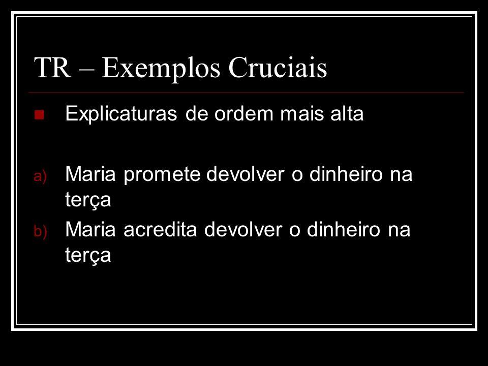 TR – Exemplos Cruciais Explicaturas de ordem mais alta
