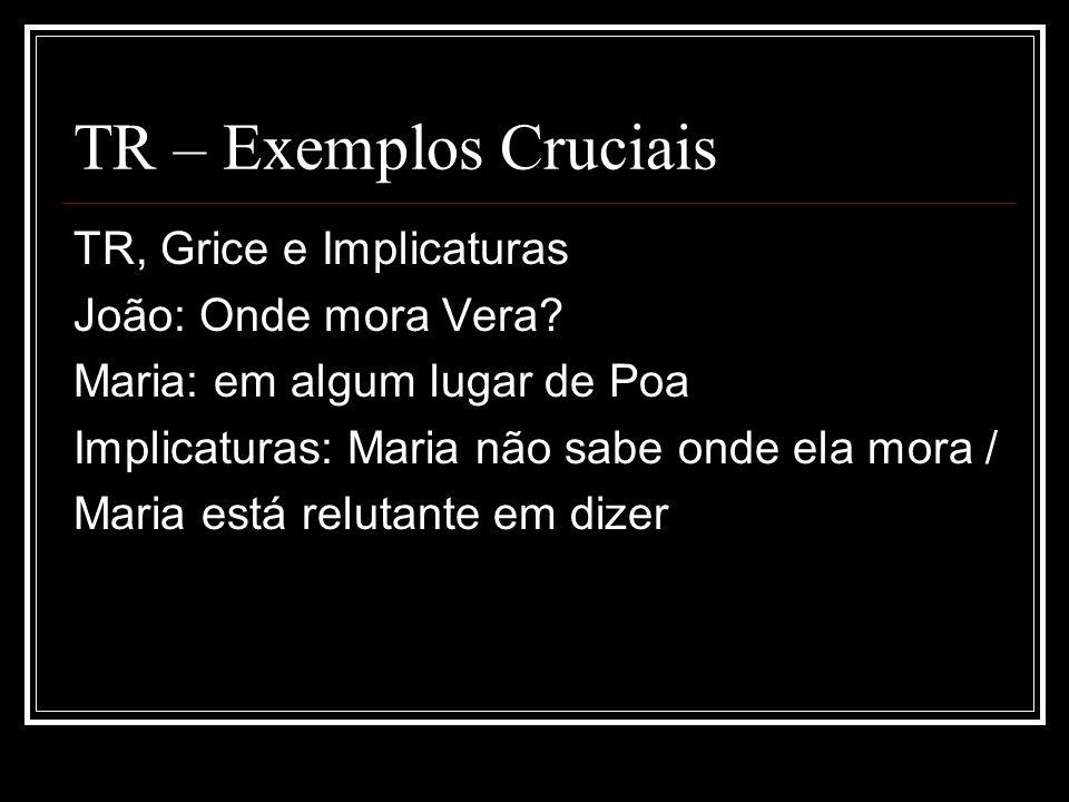 TR – Exemplos Cruciais TR, Grice e Implicaturas João: Onde mora Vera
