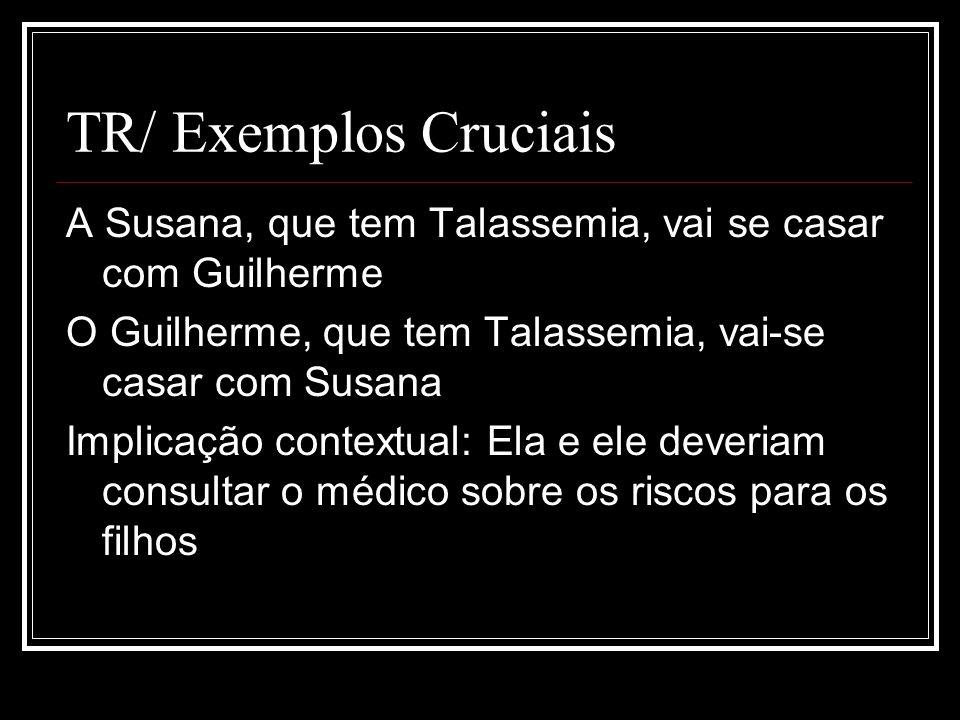 TR/ Exemplos Cruciais A Susana, que tem Talassemia, vai se casar com Guilherme. O Guilherme, que tem Talassemia, vai-se casar com Susana.