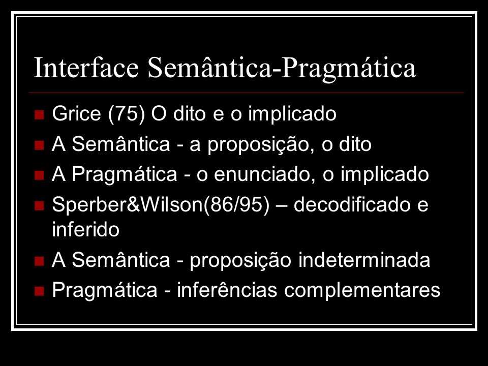Interface Semântica-Pragmática