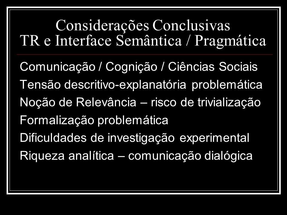 Considerações Conclusivas TR e Interface Semântica / Pragmática