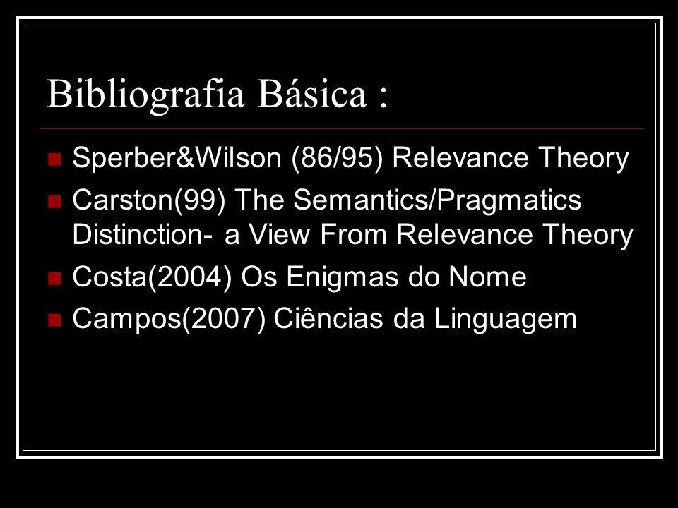 Bibliografia Básica : Sperber&Wilson (86/95) Relevance Theory