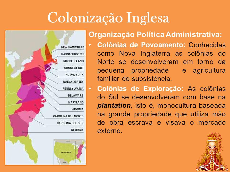 Colonização Inglesa Organização Política Administrativa: