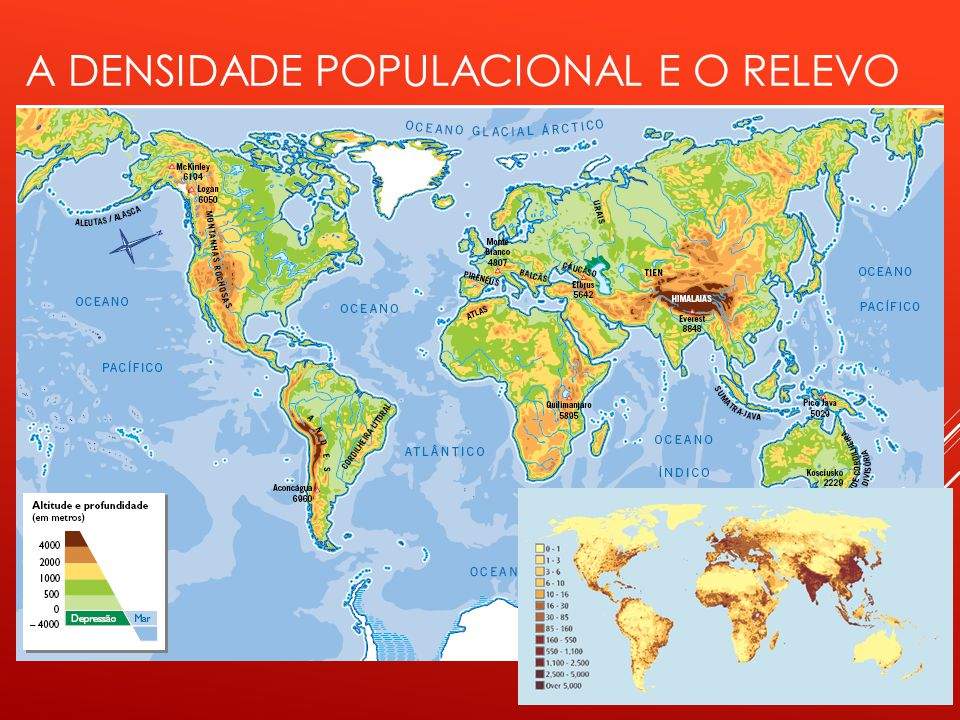 A densidade populacional e o relevo