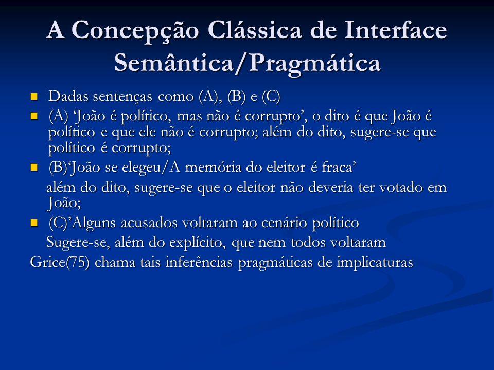 A Concepção Clássica de Interface Semântica/Pragmática