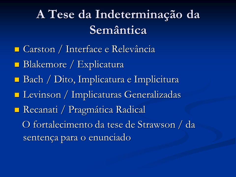 A Tese da Indeterminação da Semântica
