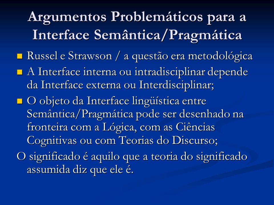 Argumentos Problemáticos para a Interface Semântica/Pragmática