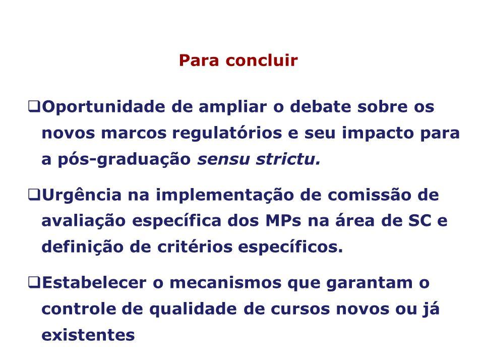 Para concluirOportunidade de ampliar o debate sobre os novos marcos regulatórios e seu impacto para a pós-graduação sensu strictu.