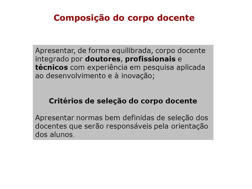 Composição do corpo docente Critérios de seleção do corpo docente