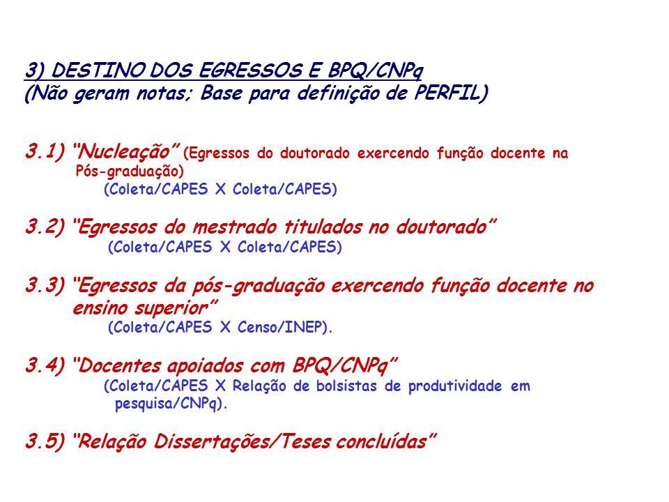 3) DESTINO DOS EGRESSOS E BPQ/CNPq