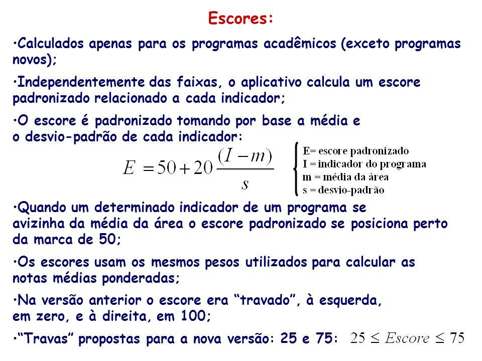 Escores: Calculados apenas para os programas acadêmicos (exceto programas. novos); Independentemente das faixas, o aplicativo calcula um escore.