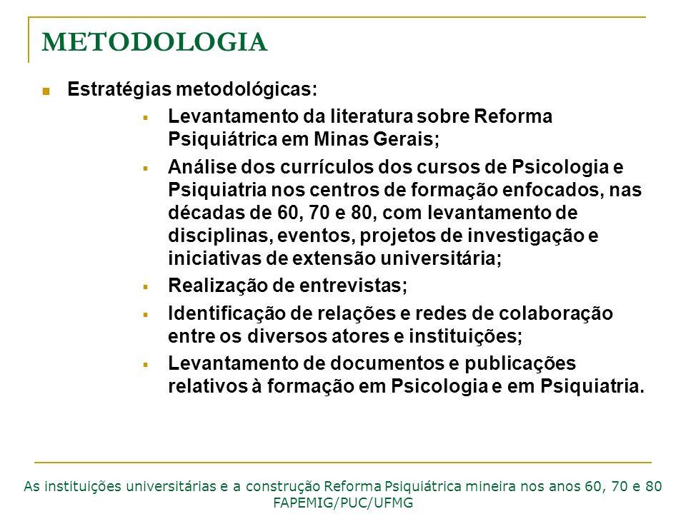 METODOLOGIA Estratégias metodológicas: