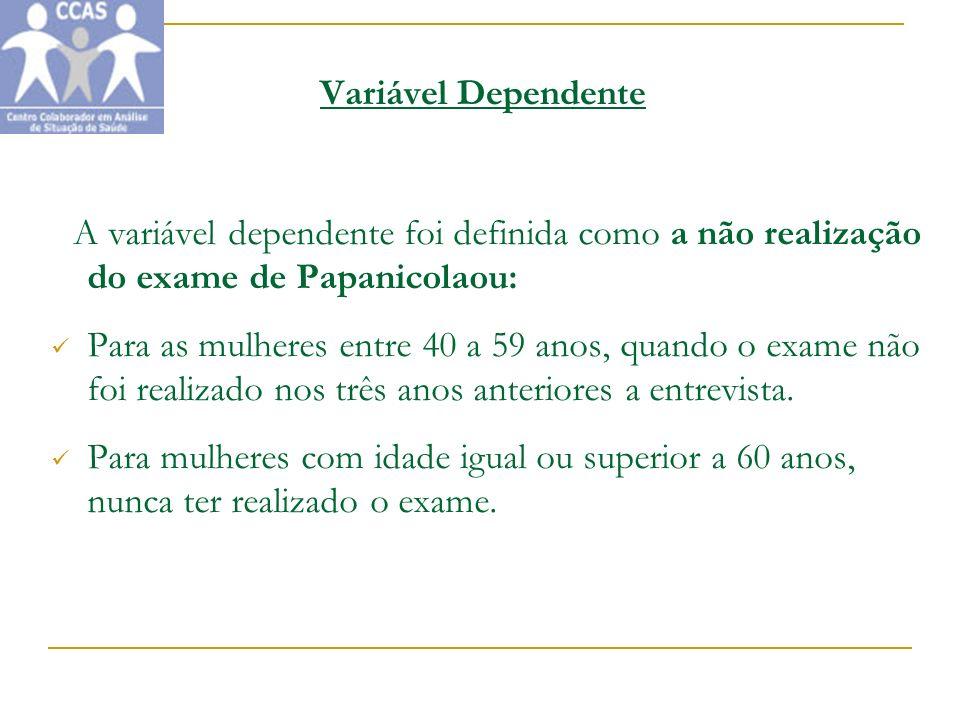 Variável Dependente A variável dependente foi definida como a não realização do exame de Papanicolaou: