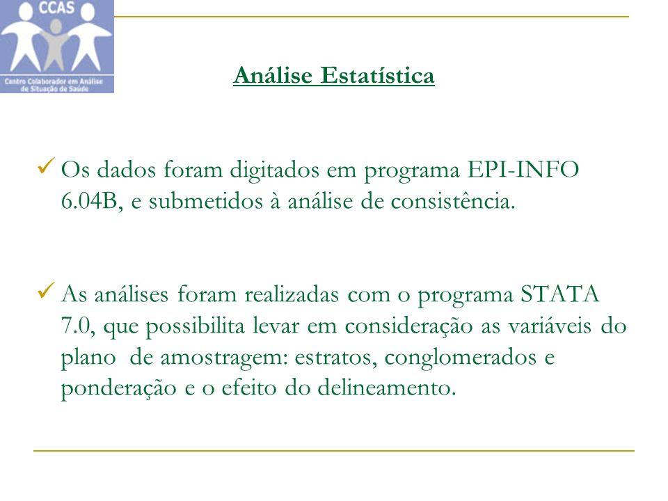 Análise Estatística Os dados foram digitados em programa EPI-INFO 6.04B, e submetidos à análise de consistência.