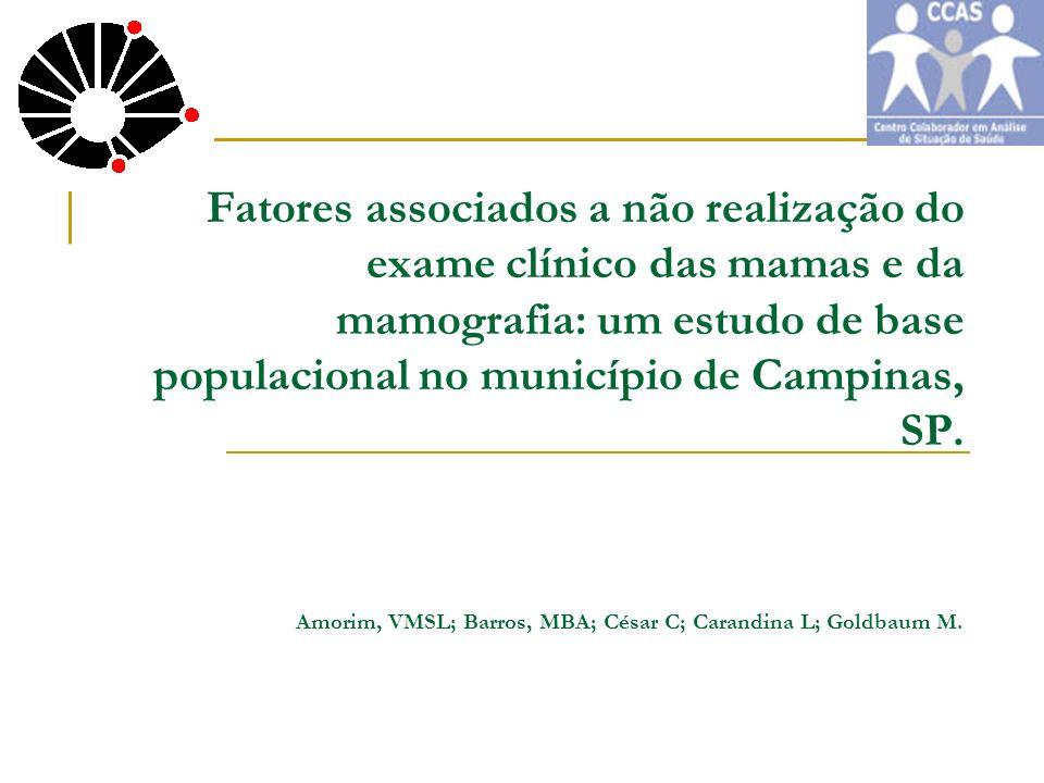 Amorim, VMSL; Barros, MBA; César C; Carandina L; Goldbaum M.