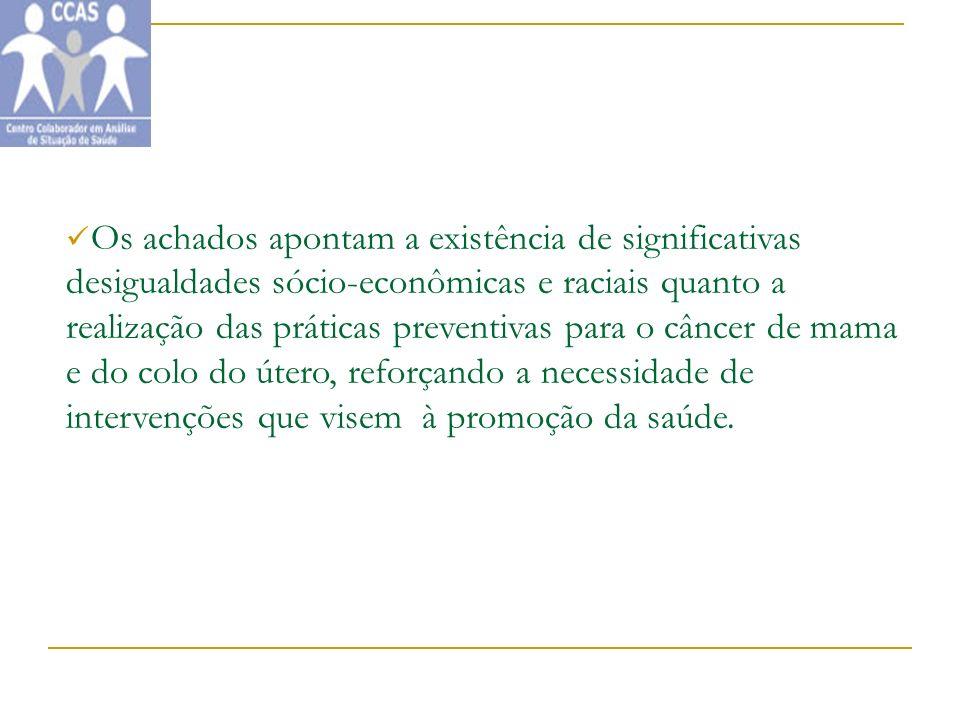 Os achados apontam a existência de significativas desigualdades sócio-econômicas e raciais quanto a realização das práticas preventivas para o câncer de mama e do colo do útero, reforçando a necessidade de intervenções que visem à promoção da saúde.