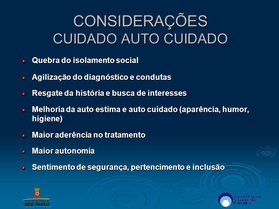 CONSIDERAÇÕES CUIDADO AUTO CUIDADO