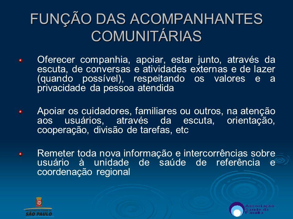 FUNÇÃO DAS ACOMPANHANTES COMUNITÁRIAS