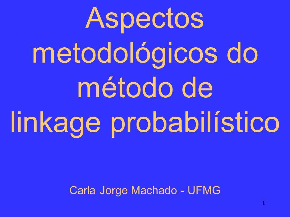 Aspectos metodológicos do método de linkage probabilístico Carla Jorge Machado - UFMG