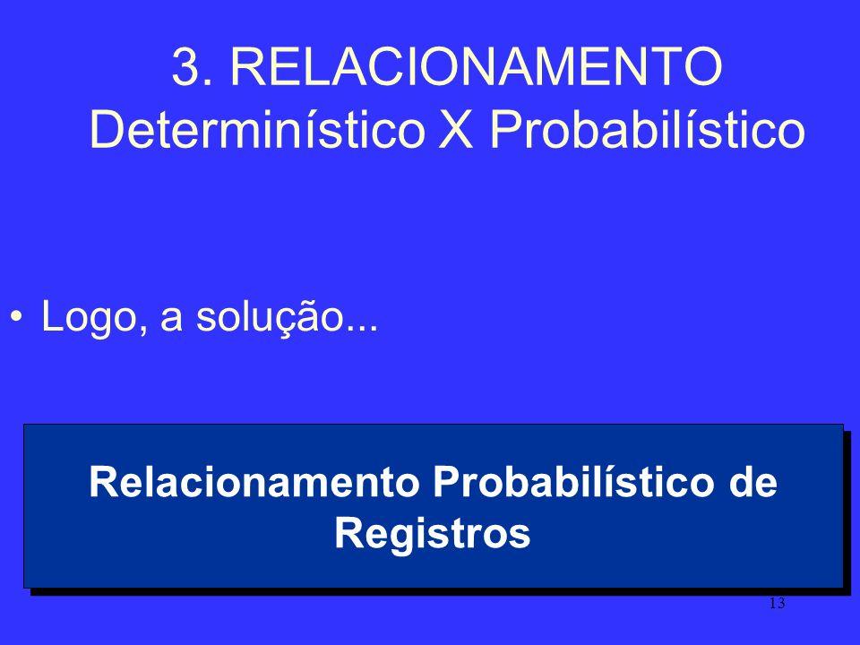 3. RELACIONAMENTO Determinístico X Probabilístico